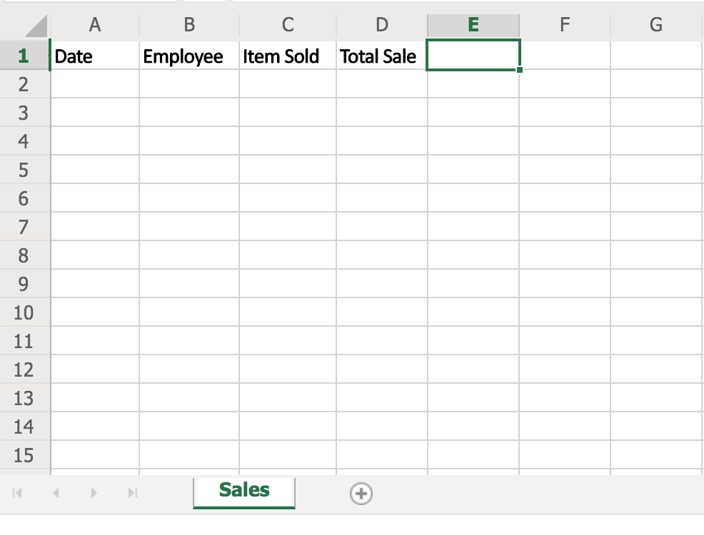 Basic Excel Table for Sales Report