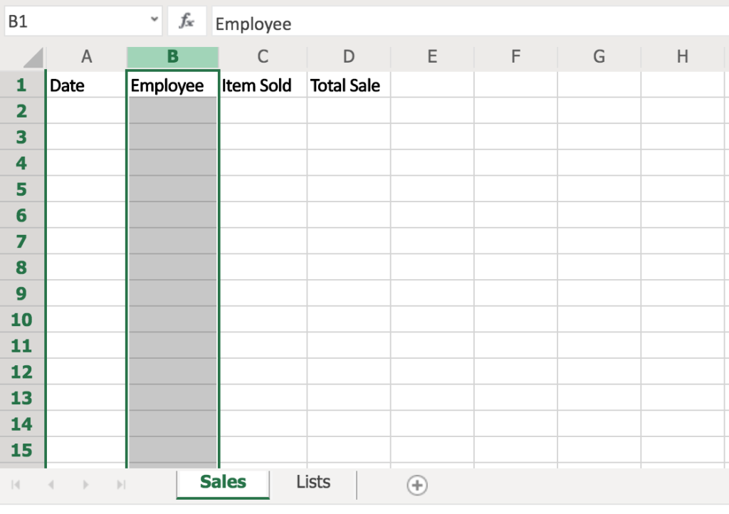 Excel Table with Column B Highlighted