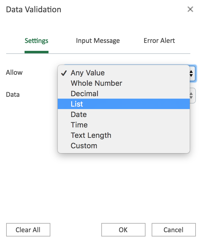 "Data Validation popbux box with ""List"" option highlight"