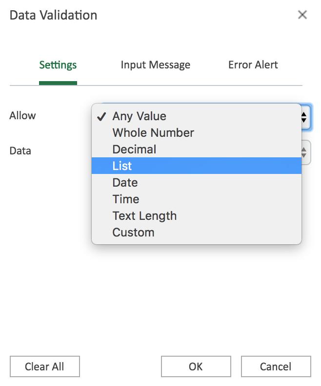 "Data Validation popbux box with ""List"" option highlight"