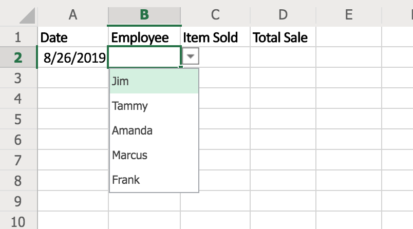 How to create a drop down list in Excel 1