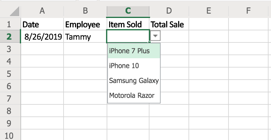 How to create a drop down list in Excel 2