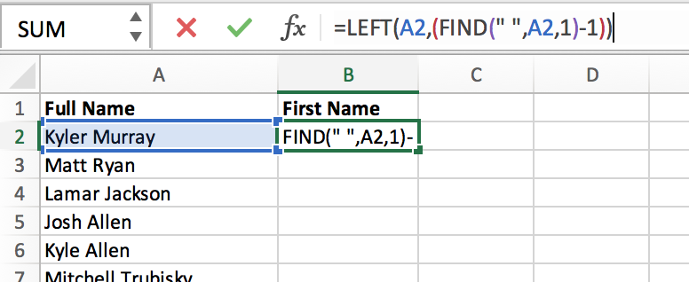 Snapshot of Excel page with text we want to extract to get first name from full name with formula
