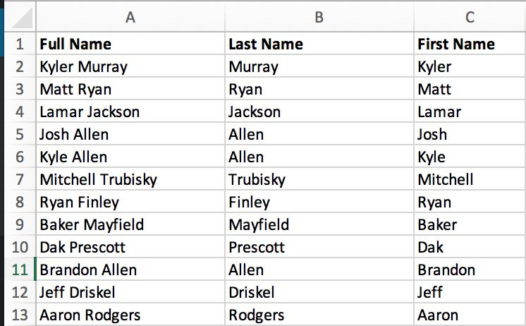 get last name and first name from the full name in Microsoft Excel